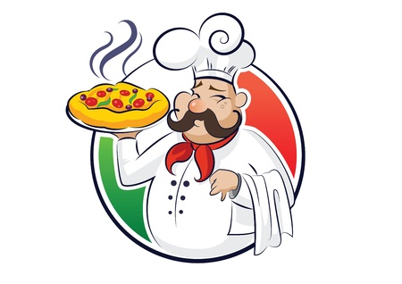 mediterranean cuisine: cook pizza illustration isolated on a white background Illustration