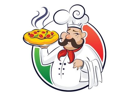 chef italiano: ilustración cocinar pizza aislados en un fondo blanco