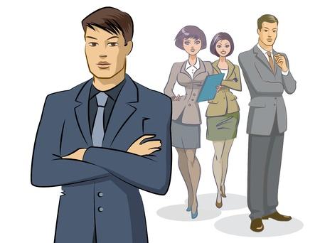 ビジネスマンのグループ力  イラスト・ベクター素材