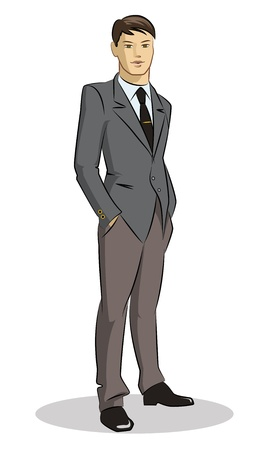 manager cartoon: Businessman standing Illustration
