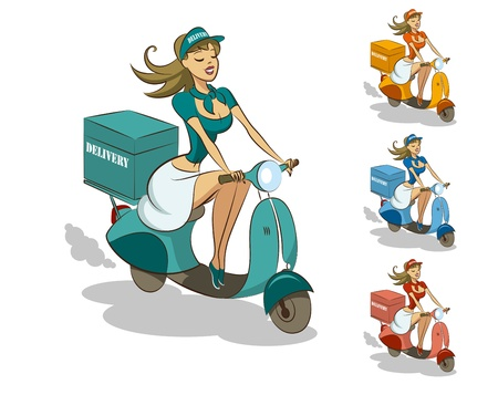 deliver: Delivery scooter Illustration