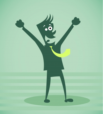 job recruitment: Person rejoices to success. Vector illustration isolated on a background