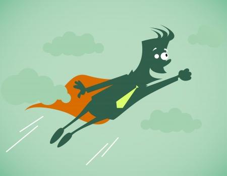 Hero - zakenman. Vector illustratie op een achtergrond