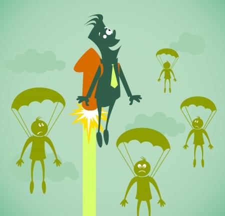 Carrière groei. Vector illustratie op een achtergrond Stock Illustratie