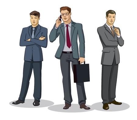 ビジネスマンのグループの立っています。白い背景で隔離のベクトル図  イラスト・ベクター素材