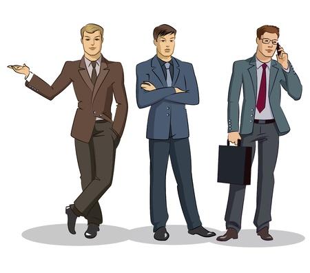 Gruppo d'affari in piedi. Illustrazione vettoriale isolato su uno sfondo bianco