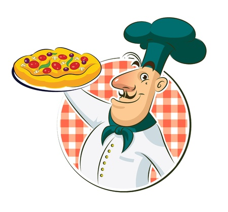 Cook Pizza Vector illustration isolated on a white background