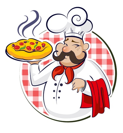 Cook Pizza. Vector