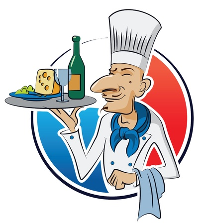 French cook. Vector illustration isolated on a white background  Vector