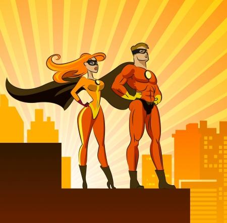 英雄 - 男性と女性。白い背景で隔離のベクトル図  イラスト・ベクター素材