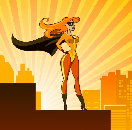 muscular build: Hero - Female. Vector illustration isolated on a sunrise background Illustration