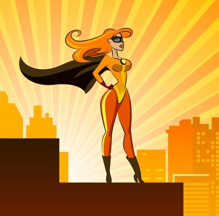 couple lit: Hero - Female. Vector illustration isolated on a sunrise background Illustration