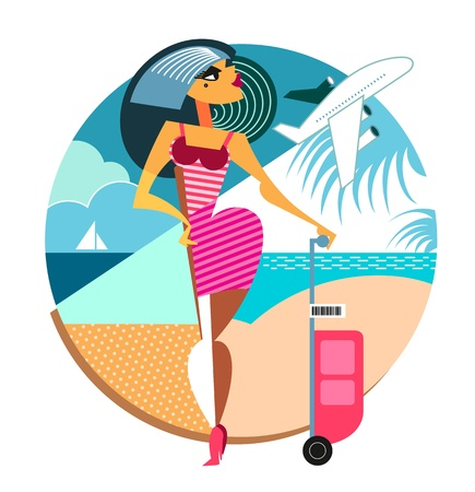 Travel woman. Vector illustration. Geometric composition.