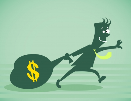 The person drags a bag of money. Vector illustration isolated on a background