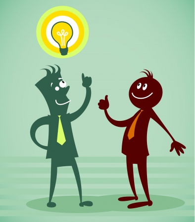 job recruitment: person with good idea. Vector illustration on a background Illustration