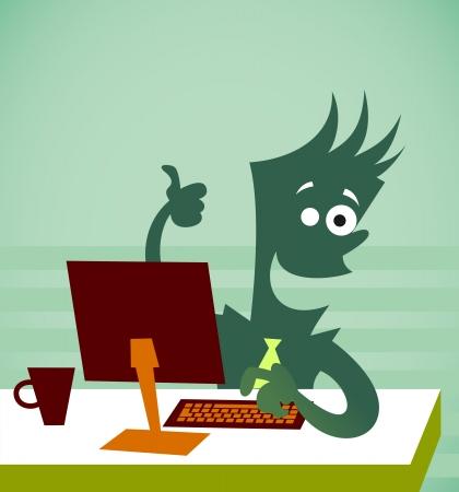 従業員は、コンピューターの前に座っています。背景のベクトル図