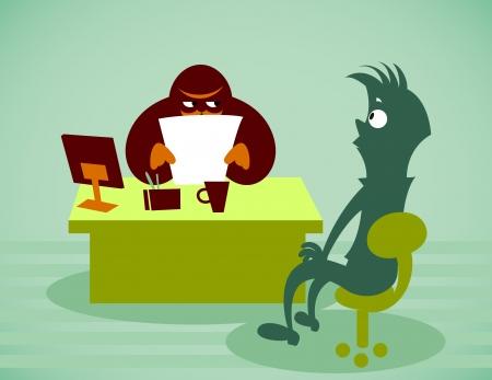 Interview voor werk. Vector illustratie op een achtergrond Stock Illustratie