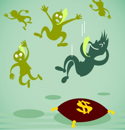 businessman falls on a soft pillow. Vector illustration on a background Vector