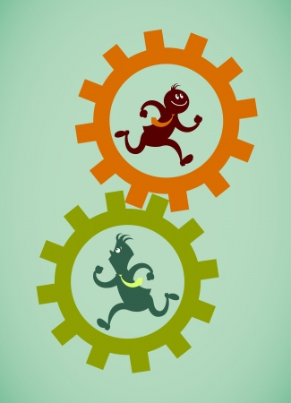 Work in one mechanism. Vector illustration on a background