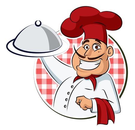 chef caricatura: Cocine restaurante. Vector, Ilustración, aislado en un fondo blanco.