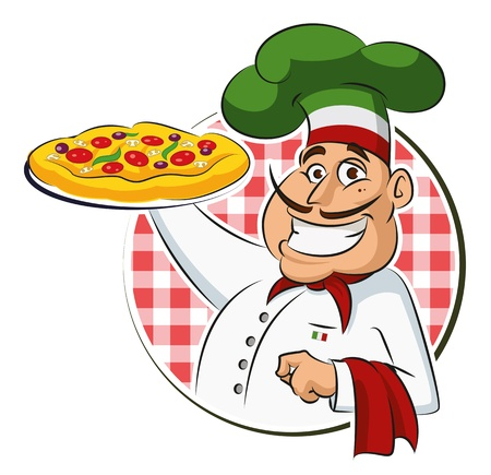chef cartoon: Cocinar Pizza. Vector, Ilustraci�n, aislado en un fondo blanco