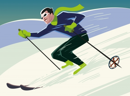 mountain skier slides from the mountain. Vector illustration Vector