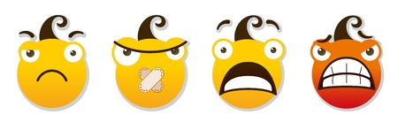 spiteful: set of smileys  Angry and sad smileys  Vector illustration isolated on a white background