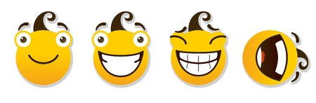set of smileys  Positive smileys  Vector illustration isolated on a white background