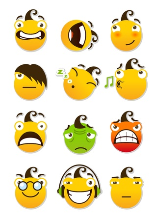 set of smileys  Angry and sad smileys  Vector illustration isolated on a white background