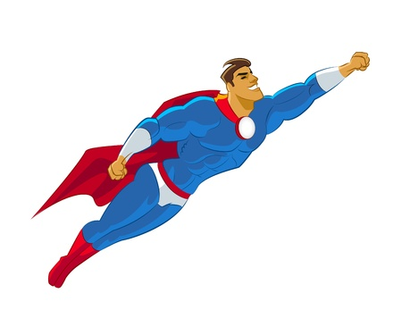 Superhero flying  Vector illustration