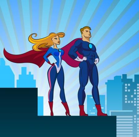 英雄 - 白い背景で隔離の男性と女性のベクトル図