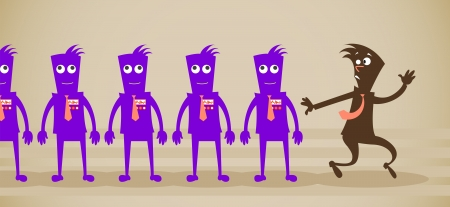 employees of the zombie. Vector illustration on a background