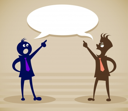 swear: Discuss a problem. Vector illustration on a background Illustration