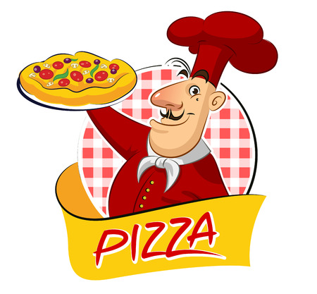 cook pizza. Vector illustration isolated on a white background