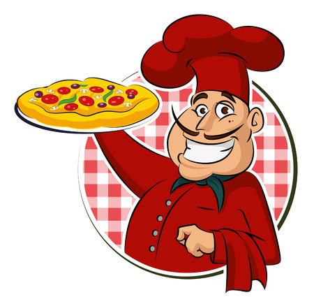chef clipart: cook pizza. Vector illustration isolated on a white background