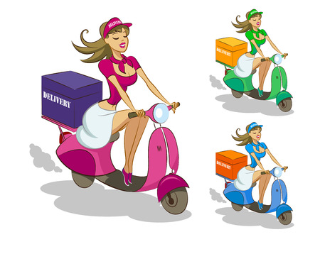 business woman: Delivery scooter. Vector illustration isolated on a white background. Illustration