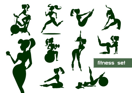 Woman fitness set. Vector illustration isolated on a white background Vector