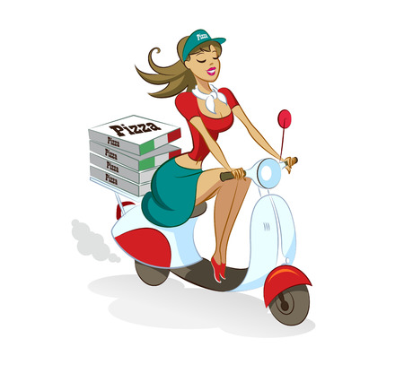 painting jobs: Pizza. Woman. Scooter. Vector illustration isolated on a white background.
