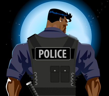 police cartoon: Police man back Illustration