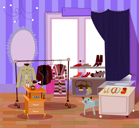 fashion boutique. Vector illustration of clothing shop. Vector