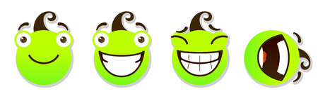 constraining: set of smileys. Positive smileys. Vector illustration isolated on a white background