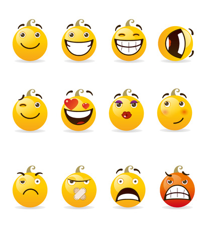facial painting: set of smileys. Vector illustration isolated on a white background.