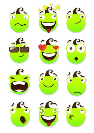 spiteful: set of smileys. Vector illustration isolated on a white background.