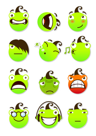 spiteful: set of smileys. Funny and smiling smileys. Vector illustration isolated on a white background.