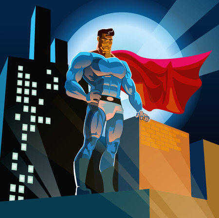 Superhero watching over the city Ilustracja
