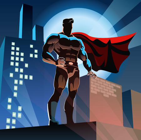 Superhero watching over the city Illustration