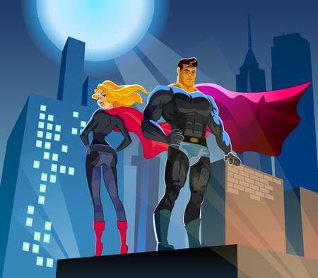 夜の街の背景を持つ高層ビルの屋根の上のスーパー ヒーロー