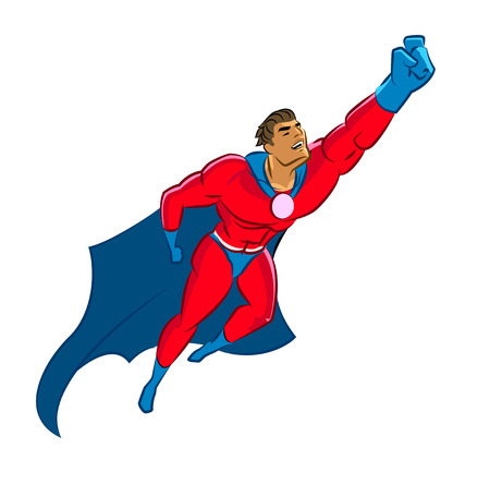 powerful man: Superhero flying up