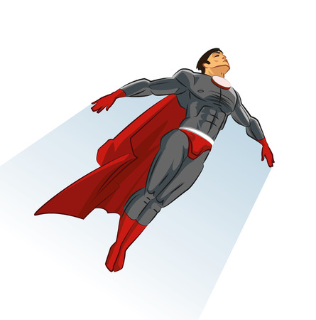 Flying superhero. Vector Illustration