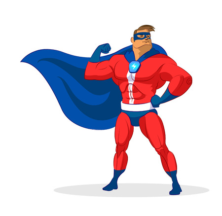muscular build: Super hero. Vector illustration on a background Illustration